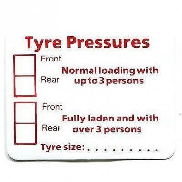 Tyre Pressure Sticker