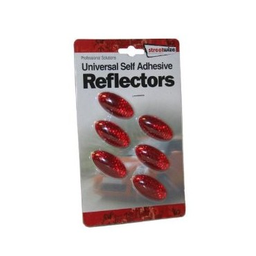Self Adhesive Red Universal Oval Rear Reflectors (Pack of Six)