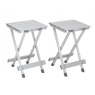 Quest Leisure Aluminium Folding Camping Table / Stool - Pack of Two