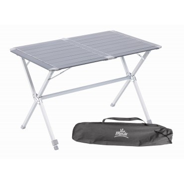Via Mondo Medium Slatted Folding Camping Table with Adjustable Leg