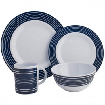 Picnic / Melamine 16 piece Dinner Set - Pinstrip