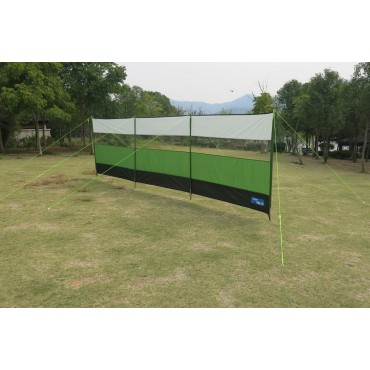 Kampa Viewing Windbreak - 500 x 140cm - Steel Sectional Poles - Green