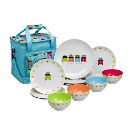 Flamefield Camper Smiles 12 Piece Melamine Picnic Set + Cool Bag