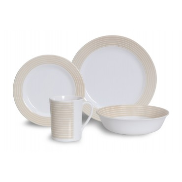 Quest Latte 16 Piece Melamine Picnicware Camping Dinner Set