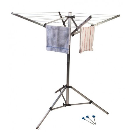Kampa Compact 4 Arm Rotary Airer / Washing Line, Foot & Bag