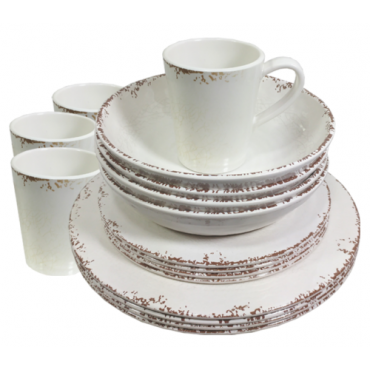 Luxury 16 piece Melamine Dinner Set - Rustic Old English Cream