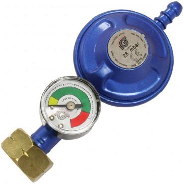 Butane Screw-on Gas Regulator 28mbar with Manometer Level Gauge for Calor 4.5kg