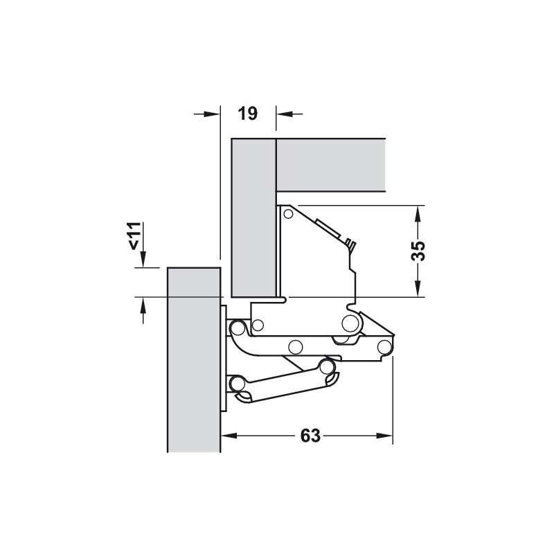 hafele swing up flap hinge  for mounting with panel  opening angle 90 u00b0