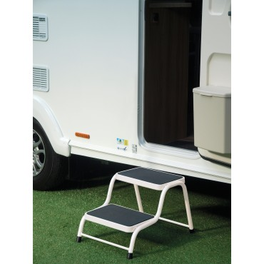 Quest Caravan Super Strong Double Steel Step - Cream