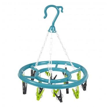 16 Pegs JVL Round Basket Sock Hanging Hook Dryer Clips Washing line