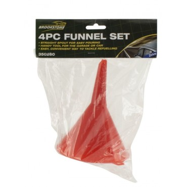 Set of 4 Assorted Size Straight Spout Plastic Funnels