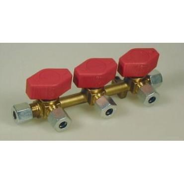 Three (3) Way Gas Manifold With Taps