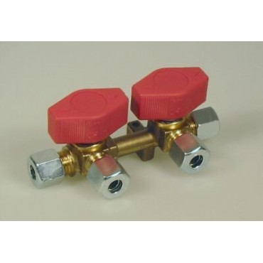 Two (2) Way Gas Manifold With Taps
