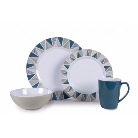 Kampa Apex Heritage 16 piece Melamine Dinner Picnicware Set