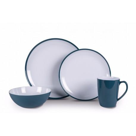 Kampa Dusk Blue Heritage 16 piece Melamine Dinner Picnicware Set