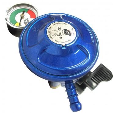 Butane 21mm Clip-on Gas Regulator with Leak & Level Manometer Gauge