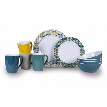 Picnic / Melamine 16 piece Dinner Set - Flora Heritage