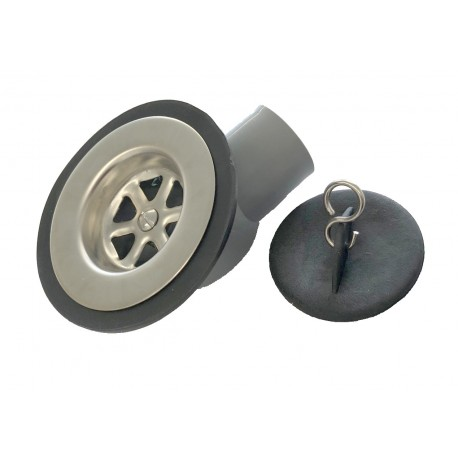 Stainless Steel Waste & Plug - Angled - 1 1/4 - 28mm