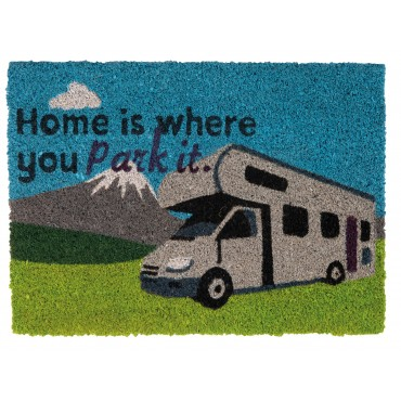 "Quest Heavy Duty Coir Home is where you park it"" Door Mat"