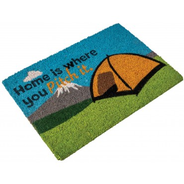 """Quest Heavy Duty Coir Home is where you Pitch it"""" Door Mat"""