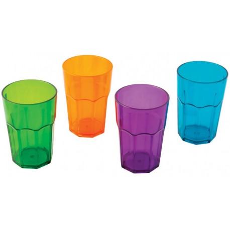 """Quest Elegant Plastic Glassware High Tumbler Plastic """"Glasses"""" (set of 4)"""