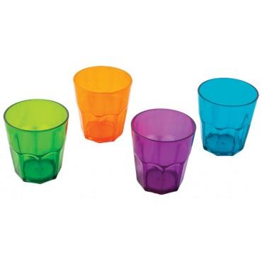 """Quest Elegant Plastic Glassware Low Tumbler Plastic """"Glasses"""" (set of 4)"""