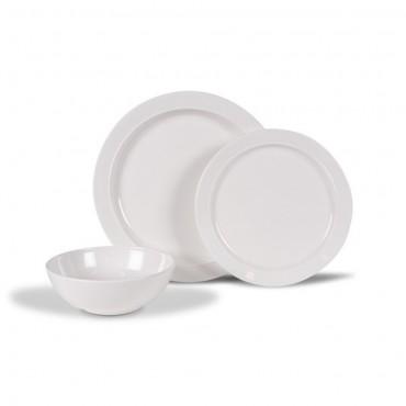 Kampa Classic White Melamine 12 piece Set with Safety Anti-Slip Ring Bases