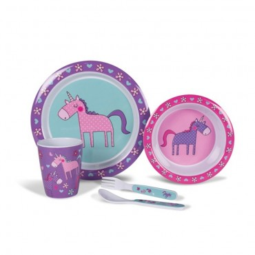 Childrens Melamine Picnicware Set - Pink & Purple Unicorns