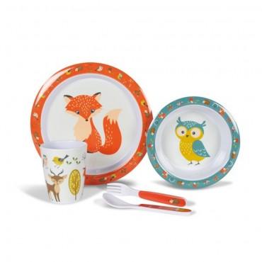 Childrens Melamine Picnicware Set - Woodland Creatures