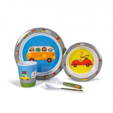 Childrens Melamine Picnicware Set - Animal Traffic