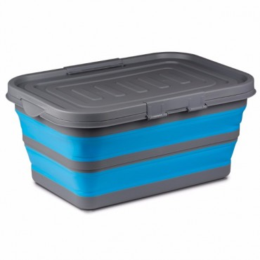 Large Silicone Sided 28 Litre Blue Storage Box