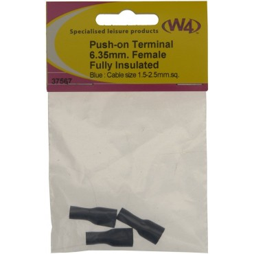 Push-On Spade Connector Terminal - 6.35mm Blue Fully Insulated - Pack Of 3
