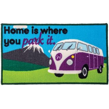 "Quest Tent ""Home is where you park it"" Camper Machine Washable Door Mat"