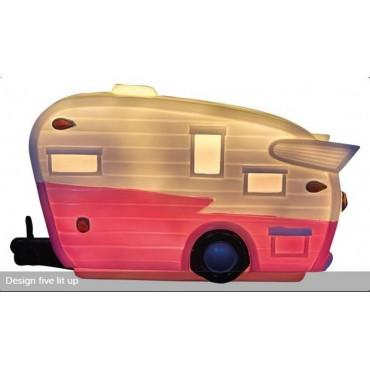 LED Caravan Lamp - Pink & White Design