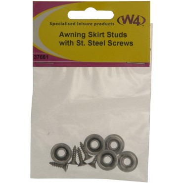 Awning Skirt Studs With Stainless Steel Screws - Pack Of Five