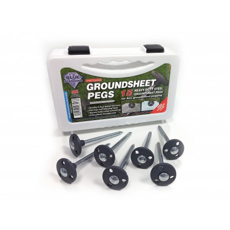 Blue Diamond 15 x Heavy Duty Steel Groundsheet Pegs