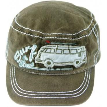 Volkswagen T1 Campervan Hippie Bus Vintage Cap - Khaki