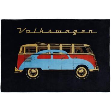 Official VW T1 Campervan / Bus Fleece Blanket Van - Black