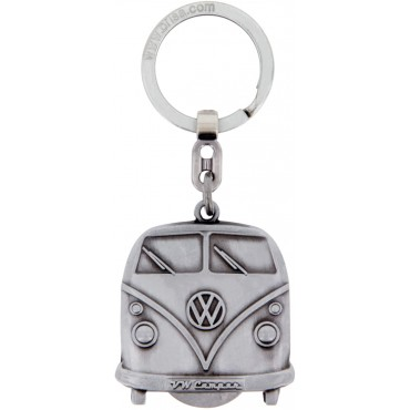Volkswagen VW T1 Campervan Bus Key Ring - Silver