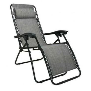 Quest Breeze Range Folding Strong & Sturdy Hampton Relaxer Chair - Grey