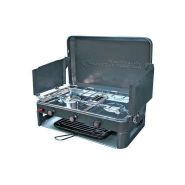 Double Burner Disposable Gas Canister Camping Stove & Grill