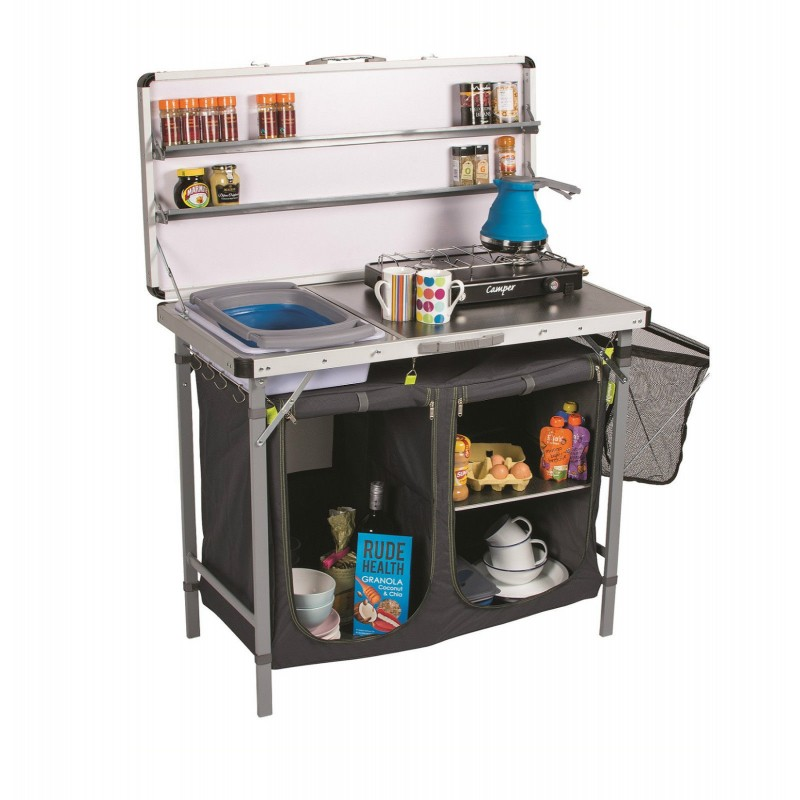 Camping kampa chieftain field tent camp kitchen stand for Camp kitchen designs