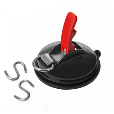 Suction Cup Fastener with D-Ring and 2 S Hooks